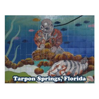 Cartão da pintura mural do mergulhador da esponja