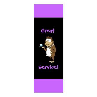 Cartão da ponta do servidor do restaurante cartão de visita skinny
