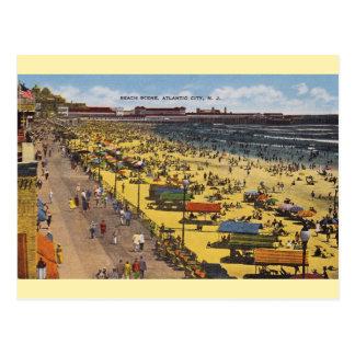 Cartão da praia de Atlantic City do vintage