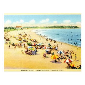 Cartão da praia de Connecticut da restauração do