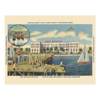 Cartão da praia de Corpus Christi do vintage