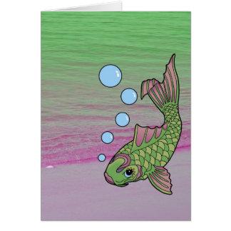 Cartão da praia de Koi Carpy