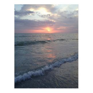 Cartão da praia do por do sol