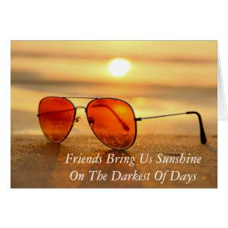 Cartão da praia do verão das citações da amizade
