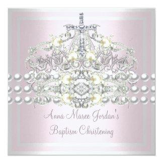 Cartão Da prata cor-de-rosa da tiara do baptismo diamante