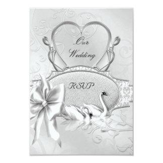 Cartão Da prata elegante do casamento de RSVP arco branco