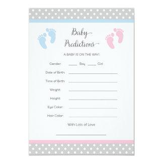 Cartão da previsão do bebê cor-de-rosa e azul