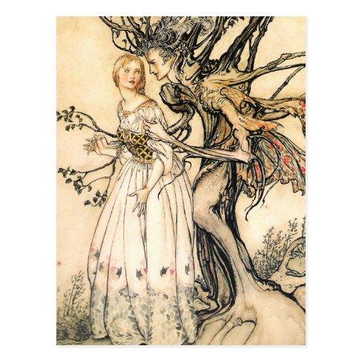 Cartão da princesa do conto de fadas e do duende d cartões postais
