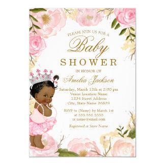Cartão Da princesa Floral Aumentação é um chá de fraldas