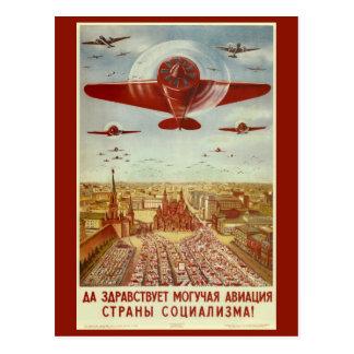Cartão da propaganda da aviação do russo do cartão postal