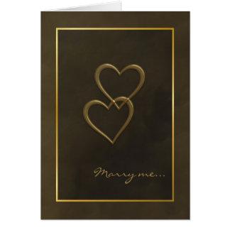 Cartão da proposta de casamento dos corações do