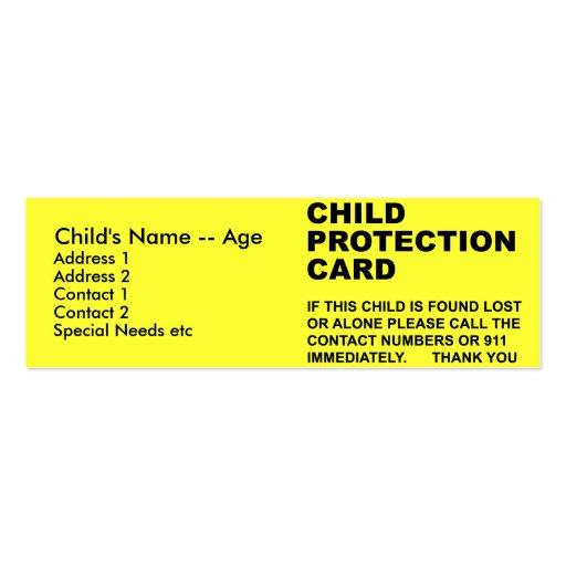 Cartão da proteção da criança (2) cartao de visita