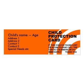 Cartão da proteção da criança cartão de visita skinny