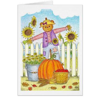 Cartão da queda do urso da colheita
