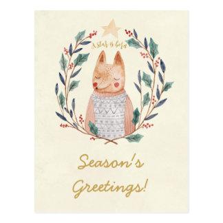 Cartão da raposa da grinalda do azevinho do Feliz