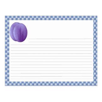 Cartão da receita da ameixa