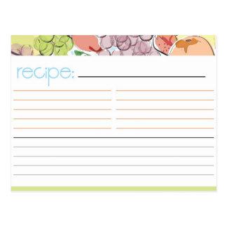Cartão da receita da fruta