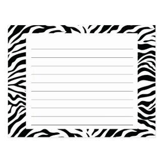Cartão da receita da listra da zebra