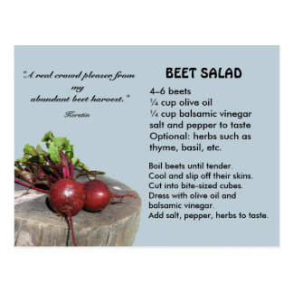 Cartão da receita da salada da beterraba