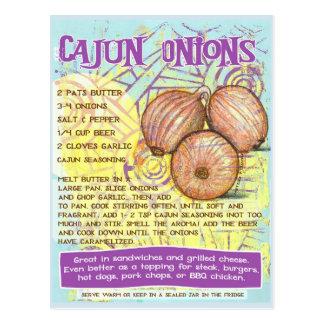 Cartão da receita das cebolas de Cajun
