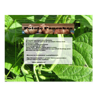 Cartão da receita das panquecas de batata