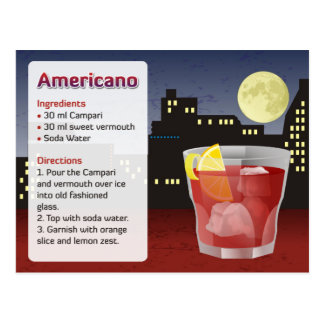 Cartão da receita de Americano
