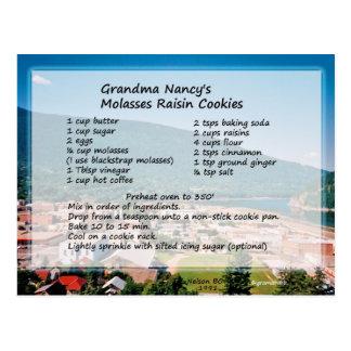 Cartão da receita do biscoito de passa do melaço