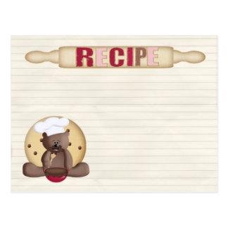 cartão da receita do biscoito do ursinho