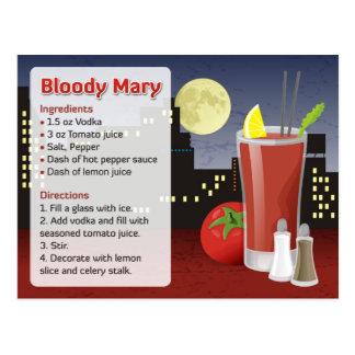 Cartão da receita do Bloody Mary