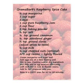Cartão da receita do bolo de especiaria da