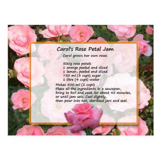 Cartão da receita do doce da pétala cor-de-rosa da