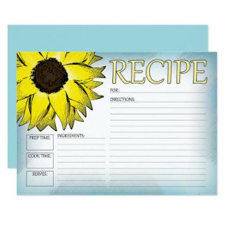 Cartão da receita do girassol