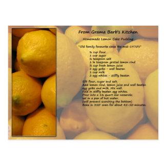 Cartão da receita do limão