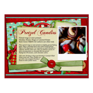 CARTÃO da RECEITA do Natal dos doces do pretzel