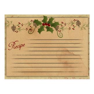 Cartão da receita do natal vintage
