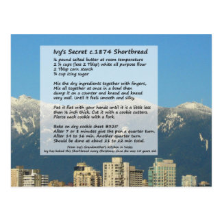 Cartão da receita do Shortbread da hera