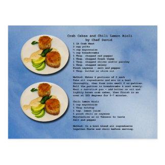 Cartão da receita dos bolos de caranguejo