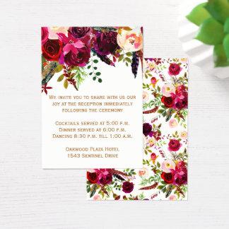 Cartão da recepção de casamento - Borgonha floral,