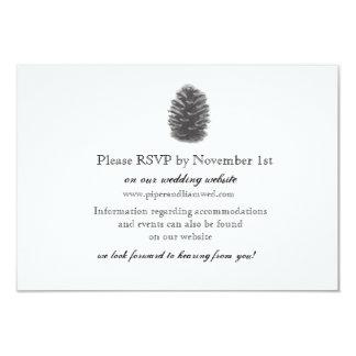 Cartão da recepção de casamento do cone do pinho