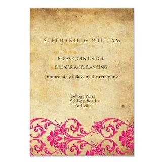 Cartão da recepção de casamento tema damasco do convite 8.89 x 12.7cm