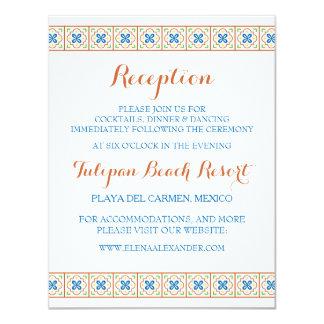 Cartão da recepção do azulejo do espanhol de convite 10.79 x 13.97cm