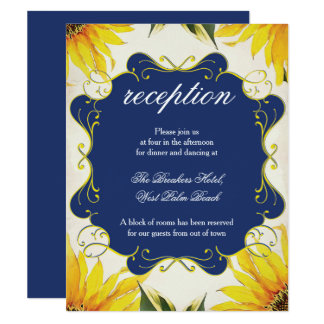 Cartão da recepção do girassol - grupo do convite