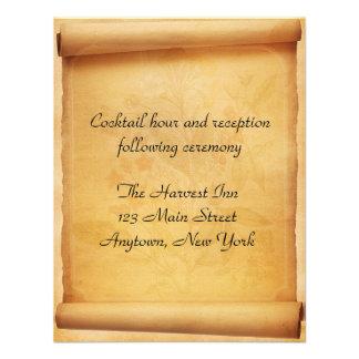 Cartão da recepção do rolo do pergaminho convite personalizados