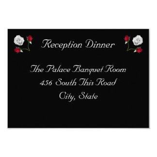 Cartão da recepção dos rosas vermelhos e brancos convite 8.89 x 12.7cm