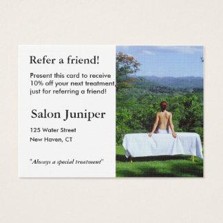 Cartão da referência com a mesa exterior da