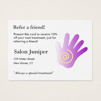 Cartão da referência com mão da massagem