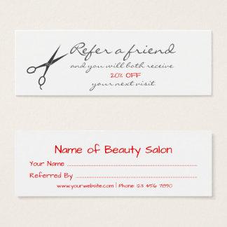 Cartão da referência do cabeleireiro das tesouras