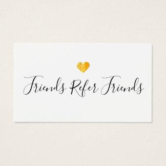 Cartão da referência do cliente do coração do ouro