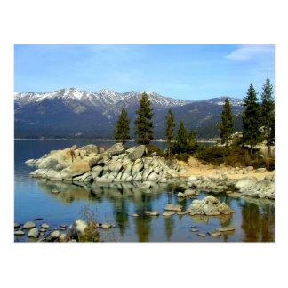 Cartão da reflexão e da escala de Lake Tahoe