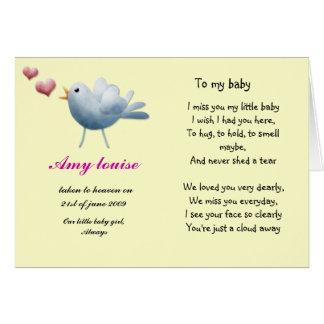 Cartão da relembrança para o bebê ou a criança